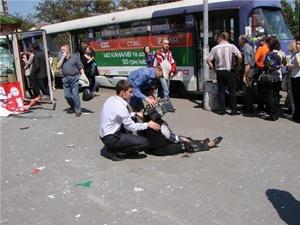 Место трагедии возле остановки. Фото: Master_Tyre, gorod.dp.ua