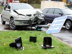 Машина сбила пешехода и указатель. Фото Delfi
